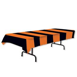 """Beistle 00104 Orange and Black Stripes Tablecover, 54 x 108"""""""