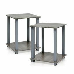 Furinno Simplistic End Table Night Stand-French Oak Gray-