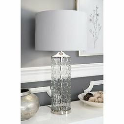 """nuLOOM 15"""" Mia Glass Cotton Shade Clear Table Lamp - 23"""" h x"""