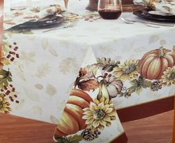 1Printed Fabric Tablecloth,60x84Oval,HARVEST,PUMPKIN,SUNFLOW