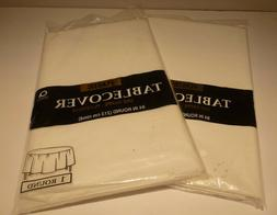 """Amscan 84"""" Round Plastic Tablecloth White lot of 2 New in P"""