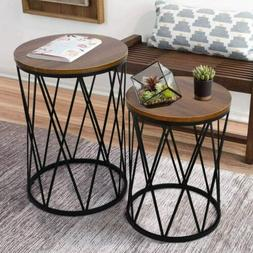 2 Convertible Nesting End Tables Metal Basket Wooden Top Hom