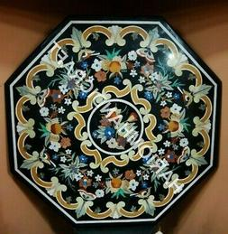 2'x2' Marble Black Coffee Dining Table Top Marquetry Multi S