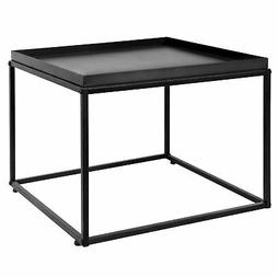 24-Inch Modern Black Metal Square Tray Side Table