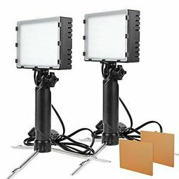 2Sets LED Portable Continuous Photo Video Light Kit f Table