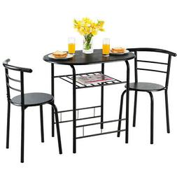 3 Pcs Home Kitchen Dining Table Set w/2 Chairs Modern Space