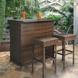 Best Choice Products 3-Piece All-Weather Outdoor Wicker Bar