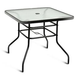 """32"""" Patio Square Table Tempered Glass Steel Frame Outdoor Po"""