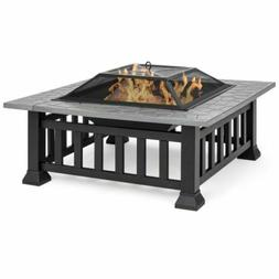 Best Choice Products 32in Patio Metal Square Fire Pit Table