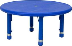 """33"""" Round Blue Plastic Height Adjustable Activity Table"""