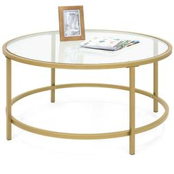 Best Choice Products 36in Round Tempered Glass Coffee Table