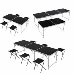 4/6FT Adjustable Black Folding Table Portable Outdoor Garden