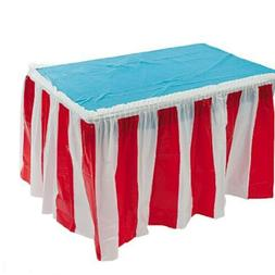Fun Express 4 pack Red & White Striped Table Skirt Carnival