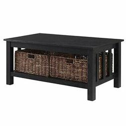 """Pemberly Row 40"""" Wood Storage Coffee Table in Black with Bas"""