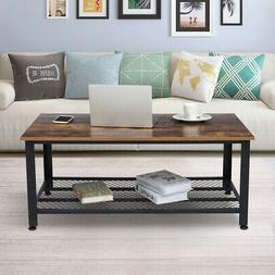"""41.8"""" Industrial Coffee Table W/ Storage Shelf For Living Ro"""