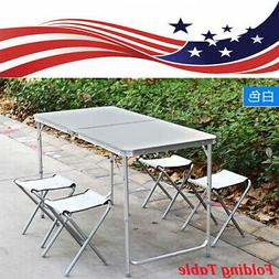4FT Folding Table Indoor Outdoor BBQ Portable Plastic Picnic