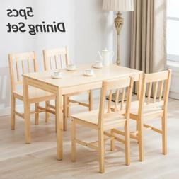 Pine Wood 5pcs Dining Table Set w/ 4 Chairs Kitchen Dining R