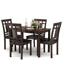 5 Piece Dining Set Table and 4 Padded Seat Chairs Home Kitch