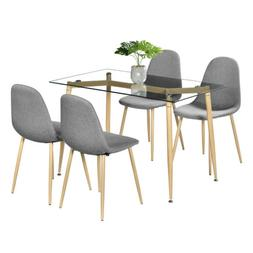 5 Piece Dining Set Table and 4 Chairs Glass Metal Kitchen Br