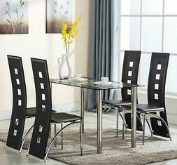 5 Piece Dining Set Table & 4 Chairs Steel Kitchen Room Furni