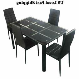 5 Piece Dining Table Set 4 Chairs+Glass Metal Kitchen Room B