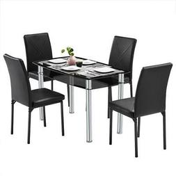 5 Piece Dining Table Set 4 Chairs &Single Chair Table Glass