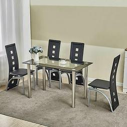 5 Piece Dining Table Set Black Glass 4 Chairs Seats Kitchen