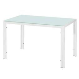 5 Piece Dining Table Set White 4 Chair Glass Metal Kitchen D