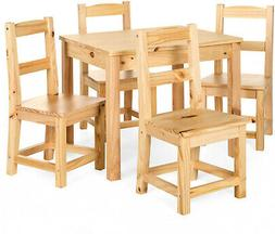 5 Piece Kids Wooden Furniture Set with Table and 4 Chairs Ac