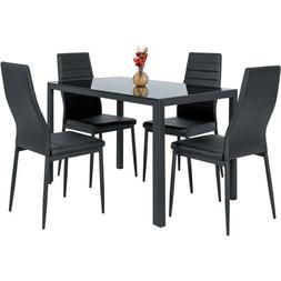 5 Piece Kitchen Dining Table Set W/Glass Top And 4 Leather C
