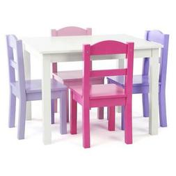 5-Piece Table And Chair Set Furniture for Kids Wood Playroom