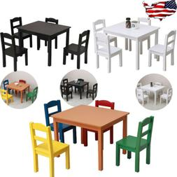 5 PSC Kids Wood Table & 4 Chairs Set Multiple Colors Play Fu