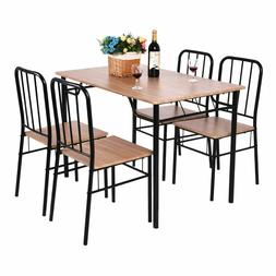 Giantex 5Pcs Dining Set Table & Chairs Metal Wood Home Moder