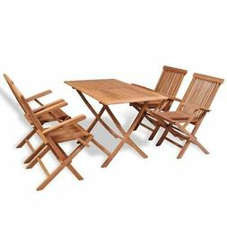Outdoor Dining Set 5 Pieces Teak Wood Furniture Patio Chairs