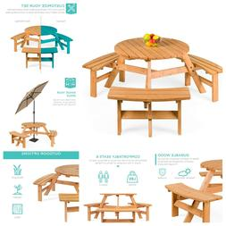 Best Choice Products 6-Person Circular Outdoor Wooden Picnic
