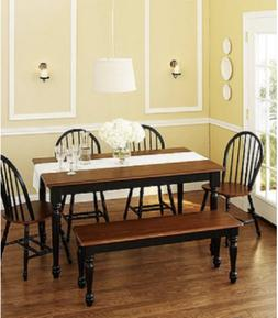 6 Piece Dining Room Table Set Farmhouse Solid Wood Kitchen T