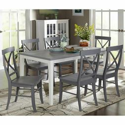 7 Piece Dining Kitchen Set Table & 6 Chairs White and Gray S