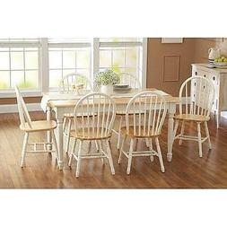7 piece Farmhouse Dining Kitchen Set Table & 6 Windsor Chair
