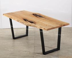 """78"""" Edge Ash Natural Wood Dining Table Desk For Top Kitchen"""