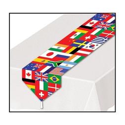 Printed International Flag Table Runner Party Accessory