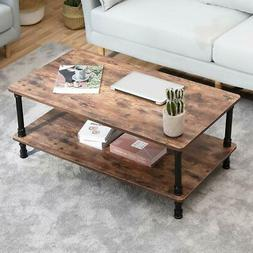 Accent Industrial Coffee Table Tea End Table With Storage Sh