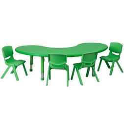 """Flash Furniture 35"""" by 65"""" Adjustabe Haf-Moon Green Pastic A"""