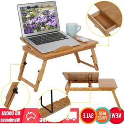 Adjustable Folding Bamboo Notebook Laptop Lap Bed Stand Tabl