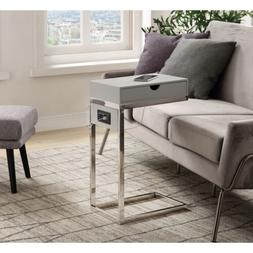 Adorna Modern End C-Table with Storage Drawer USB Charging P