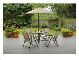 Mainstays Albany Outdoor Dining Table with 4 Chairs and Umbr