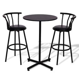 Bar Height Table And Chairs Set 3 Piece Kitchen Pub Black Me
