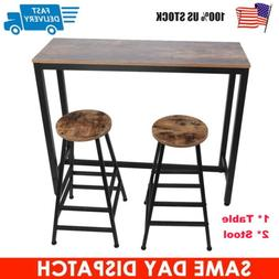 Bar Table + 2 Stool Tall Set for High Breakfast Pub Nook Spa