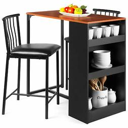 BCP Kitchen Counter Height Dining Table Set w/ 2 Stools