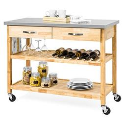 BCP Natural Wood Kitchen Island Utility Cart with Stainless