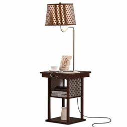 Bedside Table with LED Floor Lamp Attached Nightstand Shelve